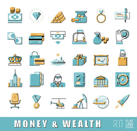 opulence: Set of premium quality flat line money and wealth icons. Collection of financial icons.