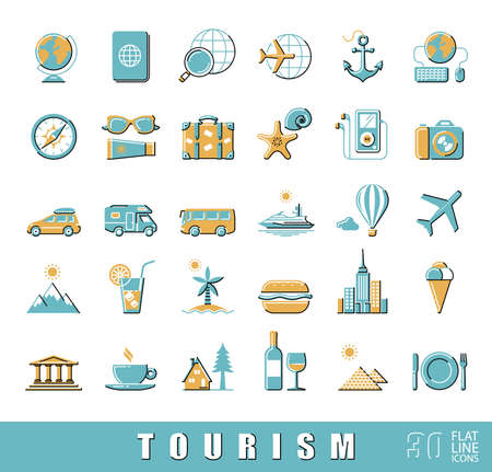 eco tourism: Set of premium quality flat line tourism icons. Collection of  vector icons for travel, tourism, leisure, holiday, vacation, booking. Infographics elements collection. Web graphics.