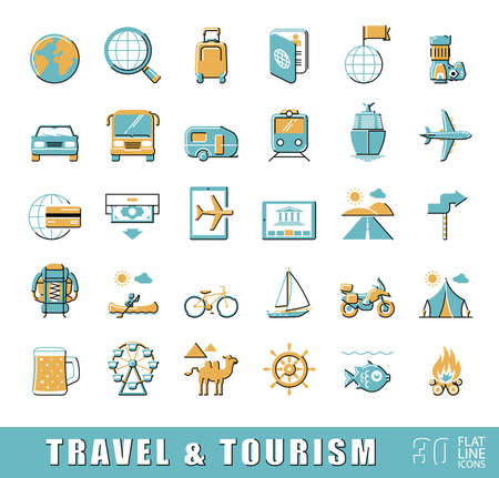 eco tourism: Set of premium quality flat line travel and tourism icons. Collection of icons.for travel, journey, vacation, trips, means of transport. Infographics elements collection. Web graphics.