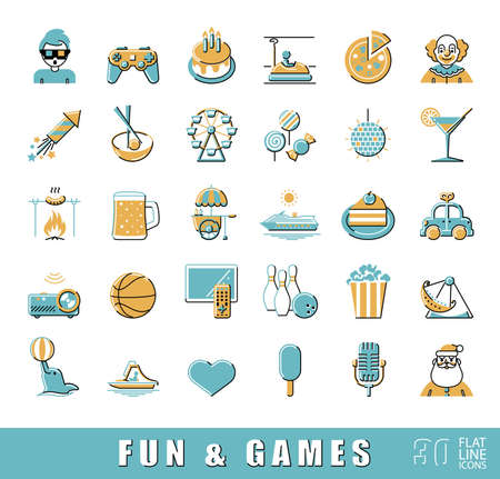 night out: Set of premium quality flat line fun and games icons. Collection of vector icons for games, fun, leisure, sport, hobby, free time. Infographics elements collection. Web graphics.