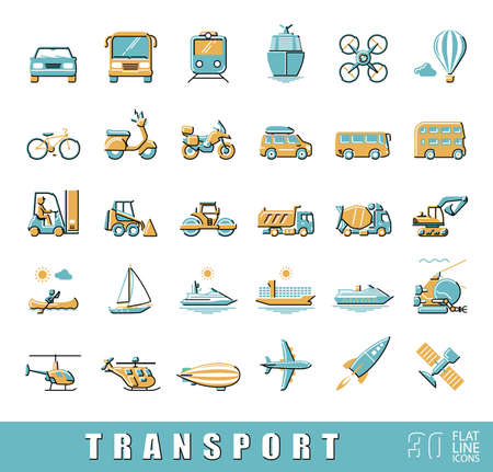 delivery icon: Various means of transportation road, rail, air, water transport. Various types of  vehicles. Collection of flat line vector icons.