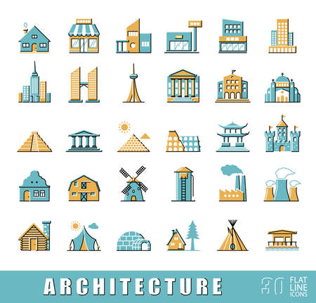 building monumental: Various styles and building purposes. Buildings for living and work, monumental buildings. Vector illustration. Collection of flat line building and landmark icons.