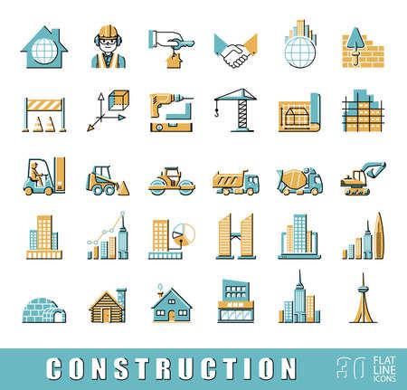 Colección de iconos del vector de línea plana que presentan etapas de Vaus proceso de construcción. Ingeniero civil. El trabajo en el sitio de construcción. Foto de archivo - 56095757