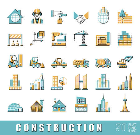 Collection of flat line vector icons presenting various stages of building process. Civil engineering. Work on construction site.