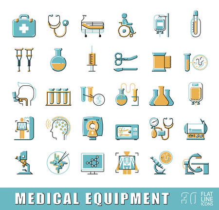 medical equipment: Set of premium quality flat line icons related to medicine equipment, hospital, emergency. Collection of medical icons. illustration.