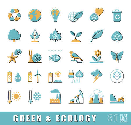 polution: Set of flat line ecology icons.  Bio alternative for pollution, prevention of global warming. Green power, nature, preservation, care, social consciousness. illustration.
