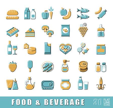 aliments: Collection d'icônes de nourriture et de boissons. Ensemble de produits alimentaires en ligne plats. illustration.