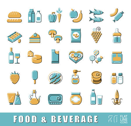 foodstuffs: Collection of food and beverage icons.  Set of flat line foodstuffs.  illustration.