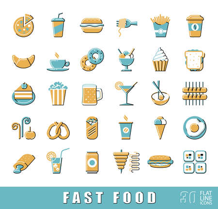 take out food: Set of premium quality fast food icons.  Collection of flat line icons of food and drink. illustration.