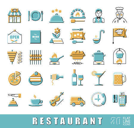 restaurant food: Premium quality kitchen and restaurant icons.  Collection of flat line food and beverage icons. illustration.