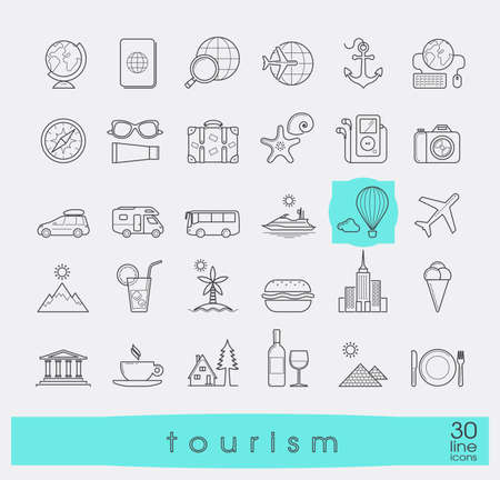 globus: Set of premium quality line tourism icons. Collection of  vector icons for travel, tourism, leisure, holiday, vacation, booking. Infographics elements collection. Web graphics.