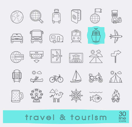eco tourism: Set of premium quality line travel and tourism icons. Collection of icons.for travel, journey, vacation, trips, means of transport. Infographics elements collection. Web graphics. Illustration