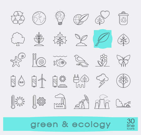 polution: Set of line ecology icons. Bio alternative for pollution, prevention of global warming. Green power, nature, preservation, care, social consciousness. Vector illustration.