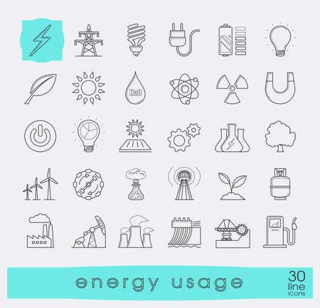 Set di icone di energia linea. Varie fonti di energia. Vari tipi di energie per l'impiego nell'industria e nella vita di tutti i giorni. L'energia solare, bio alternativa, carburante, energia elettrica, nucleare, energia eolica, a gas. Illustrazione vettoriale.