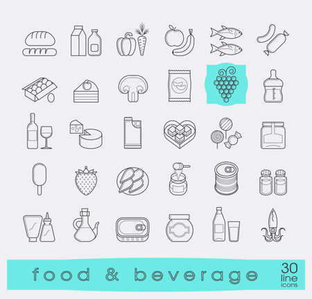 larder: Collection of food and beverage icons.  Set of flat line food stuffs. Vector illustration.