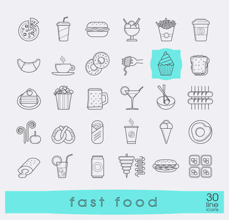 food illustration: Set of premium quality fast food icons.  Collection of  line icons of food and drink. Vector illustration. Illustration