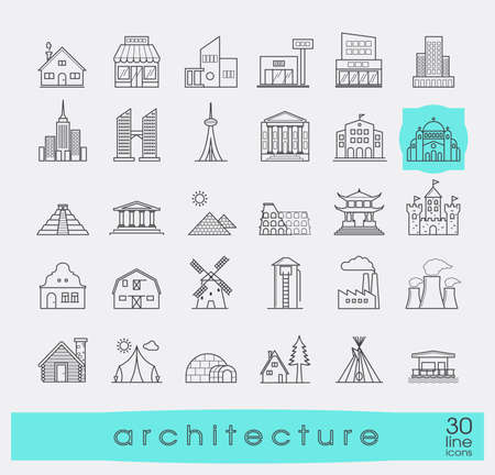 building monumental: Buildings and architecture icons set.  Various styles and building purposes. Buildings for living and work, monumental buildings. Vector illustration. Collection of line building and landmark icons.