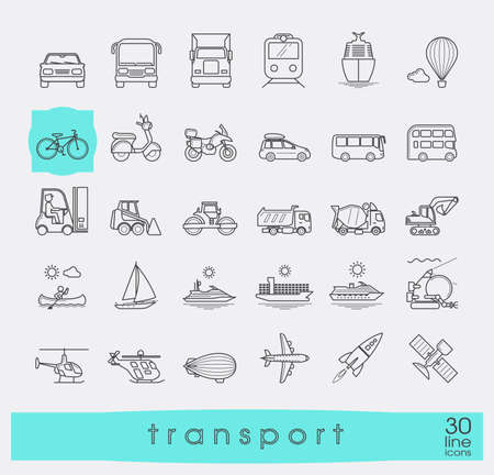 Set di icone di trasporto. Vaus mezzi di trasporto su strada, ferroviario, aereo, il trasporto di acqua. tipi Vaus di veicoli. Collezione di icone linea vettoriale.