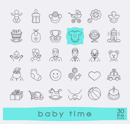 love life: Set of line icons for baby care, feeding and play. First year of parenting.  Collection of baby time icons. Accessories for newborn in the family. Love, care, family life. Vector illustration.