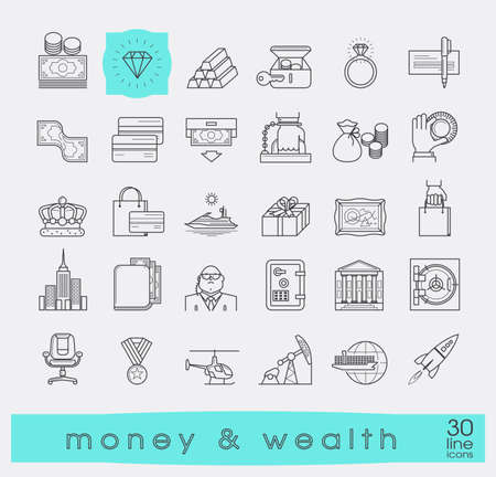 Set of premium quality line money and wealth icons.  Collection of financial icons. Vector illustration. Vettoriali
