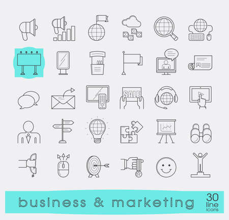affirmations: Set of line business and marketing icons. Collection of premium quality icons for advertising and communication. Vector illustration.