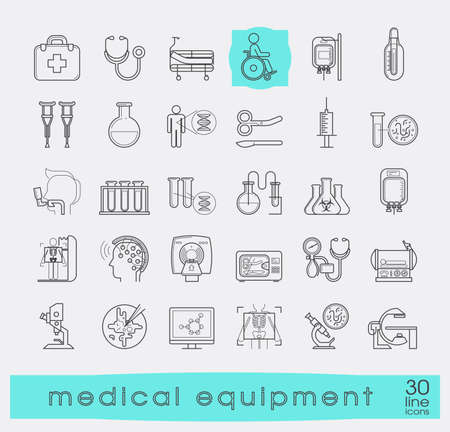 Collection of medical equipment icons. Set of premium quality line icons related to medicine equipment, hospital, emergency. Vector illustration.