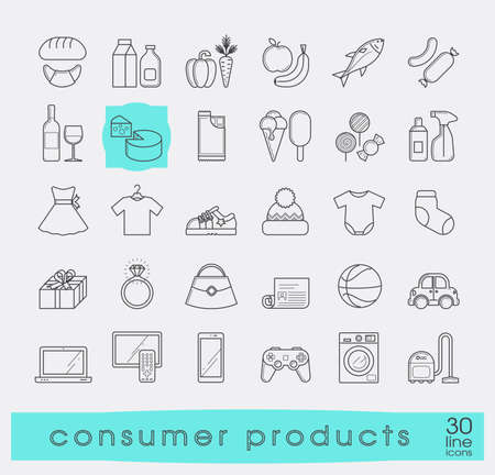 shopping icons: Set of shopping icons. Various shopping products. Premium quality outline symbol collection.