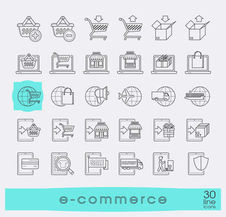 troley: Collection of icons for online shopping. Premium quality line icon set for e-commerce.