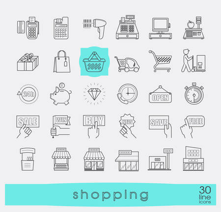 checkout line: Set of shopping icons. Premium quality outline symbol collection.