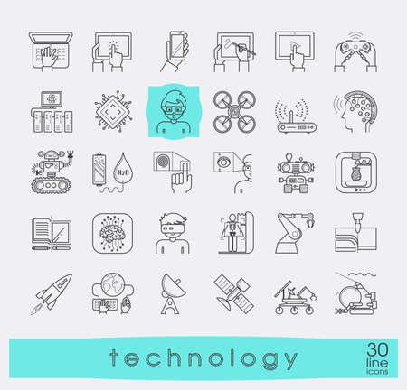 Zestaw ikon technologii. Różne ikony high-tech.