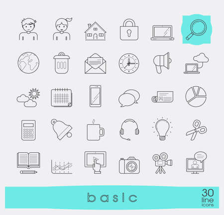 basic: Collection of line universal icons. Line basic icons for web and mobile applications.