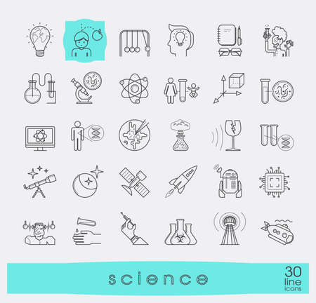 genetic engineering: Collection of scientific icons. Line icons of science, ideas, physics, chemistry, astronomy, genetic engineering.
