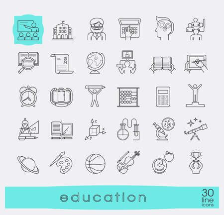 distance learning: Collection of educational icons. Icons of school and education, distance learning, creative process, science, art and sport.