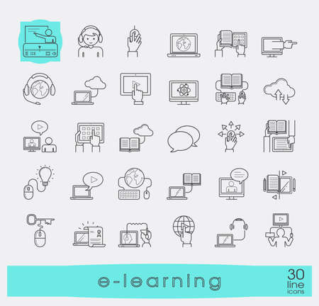 Kolekcja ikon e-learningowych płaską linię. Ikony kształcenia na odległość, cloud computing, nauki on-line i e książki. Ilustracje wektorowe