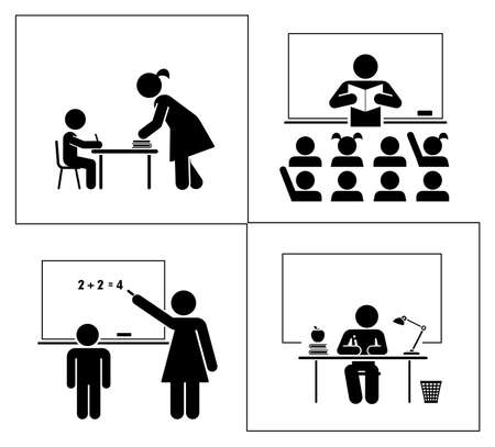 Set of school and education pictograms. School and classroom.
