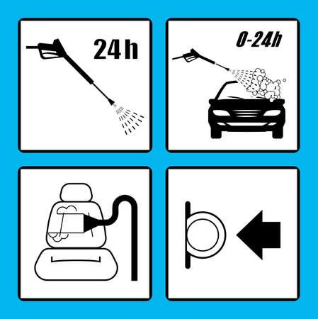 Set of car washing icons. Self service car wash instructions. Automatic car wash facilities.