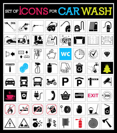 Set of car washing icons.  Collection of very useful icons for car wash and other service on the road. Banco de Imagens - 63521938