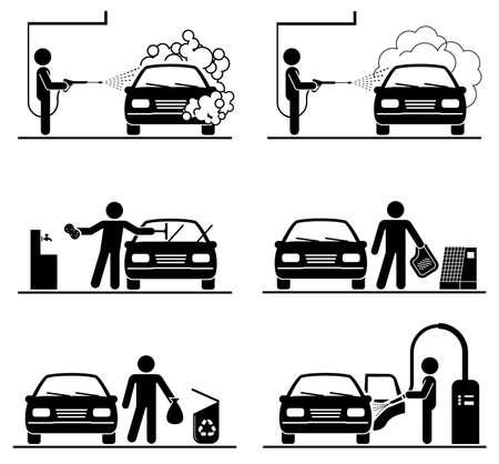 Zestaw piktogramów do mycia samochodów. Profesjonalna myjnia samochodowa. Dogłębne czyszczenie.