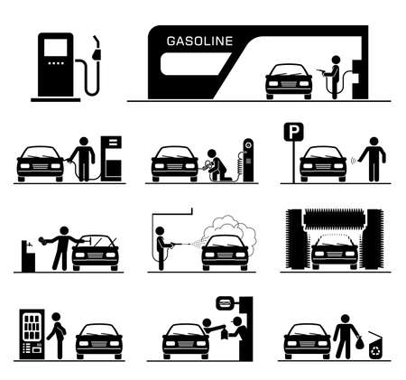 rollers: Gas station and car washing.  Pictogram set of gas station and car washing facilities.