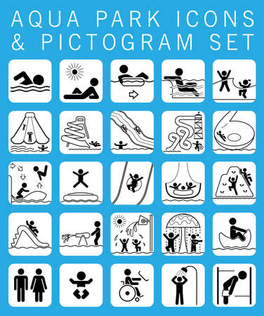 Collection of pictograms and signs for aqua park.  Water park. Summer fun.