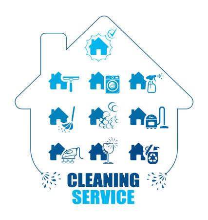 aseo: Conjunto de iconos para el servicio de limpieza. ilustración pictograma. Todo el trabajo doméstico asistencia profesional.