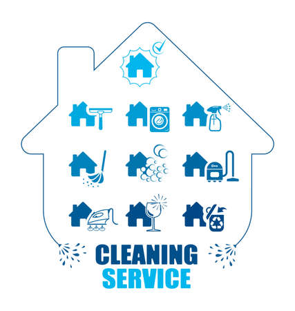 cleanliness: Set of icons for cleaning service. Pictogram illustration. All housework professional assistance.