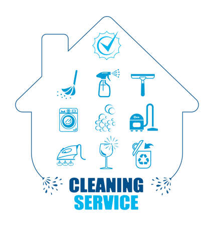 housework: Set of icons for cleaning service.  Pictogram illustration. All housework professional assistance.