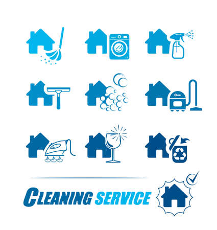 cleanness: Set of icons for cleaning service.  Pictogram illustration. All housework professional assistance.