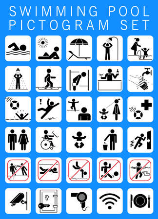 aqua park: Swimming pool pictogram set. Collection of premium quality pictograms giving information, bans and warnings for swimming pool visitors.