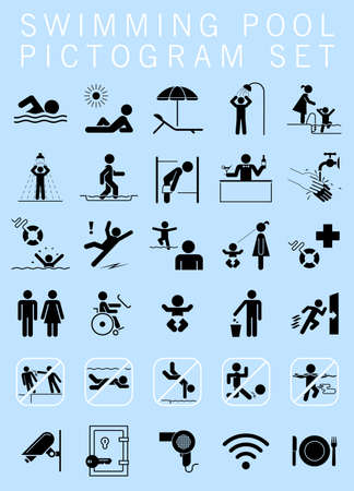 visitors: Swimming pool pictogram set. Collection of premium quality pictograms giving information, bans and warnings for swimming pool visitors.