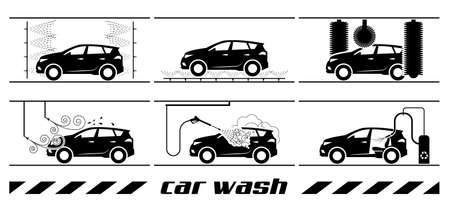 Collection of very useful icons for car wash. Whole process of car wash presented through pictograms. Illustration