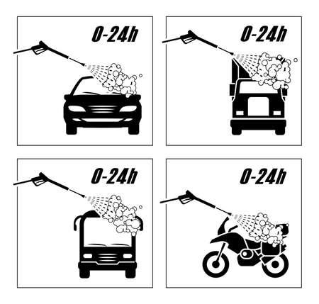 洗車のための非常に便利なアイコンのコレクション。  乗用車、トラック、バス、オートバイの洗浄を示す図。