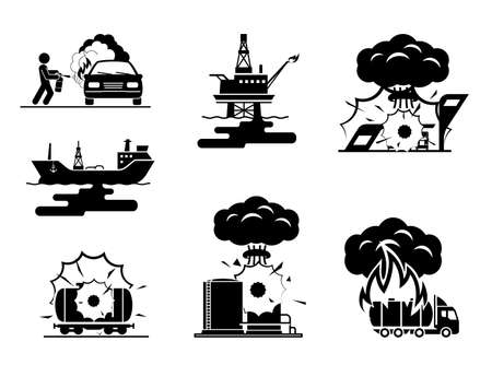 ecological disaster: Illustrations presenting accidents in oil industry. Collection of pictogram presenting ecological disaster.