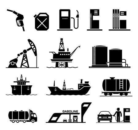 Collection of icons presenting equipment and parts of manufacturing plant used in oil industry.
